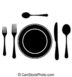 Black silhouettes of cutlery.
