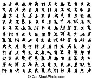 silhouettes of dance players
