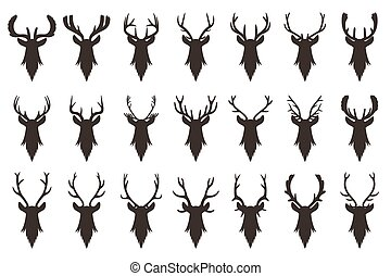 Black silhouettes of deer head with antlers