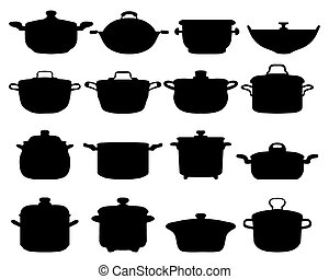 pots and pans - Black silhouettes of different pots and pans