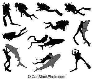 divers  - Black silhouettes of divers and sharks, vector