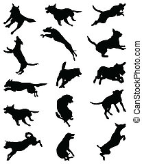 Black silhouettes of dogs jumping, vector