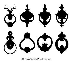 knocker - Black silhouettes of door knocker, vector ...