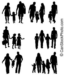 families - Black silhouettes of families in walk, vector