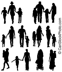 families - Black silhouettes of families, vector ...