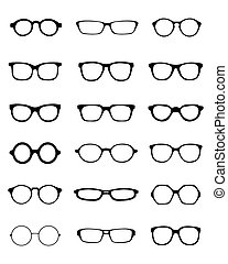 different eyeglasses - Black silhouettes of fifteen...