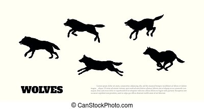 Black silhouettes of flock of wolves on a white background.