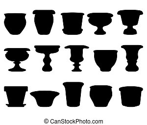 pottery - Black silhouettes of flowerpots and pottery,...
