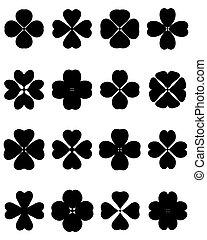 four leaf clover - Black silhouettes of four leaf clover, ...