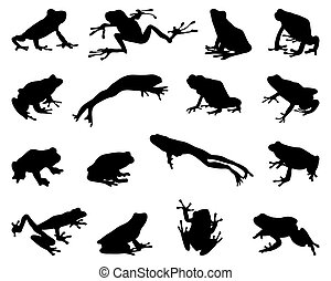 silhouettes of frogs