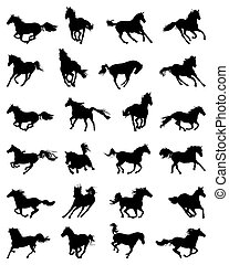 silhouettes of galloping horses