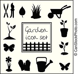 Black silhouettes of garden icons set isolated on white background