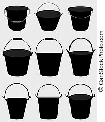pail - Black silhouettes of garden pail, vector