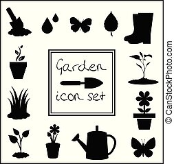Black silhouettes of gardening icons set isolated on white background