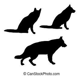 black silhouettes of German Shepherd dog