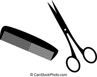 hairstyle - Black silhouettes of hairstyle tools.