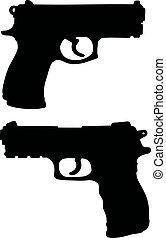 Black silhouettes of handguns