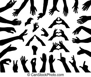 hands - Black silhouettes of hands, vector