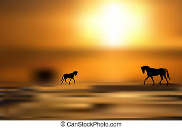 Black silhouettes of horses on golden
