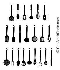 kitchen utensils, vector