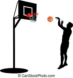 Black silhouettes of men playing basketball on a white background