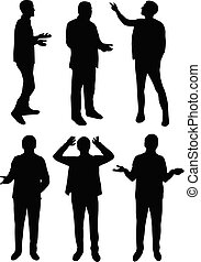black silhouettes of men standing and talking