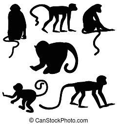 Black silhouettes of monkeys on white background