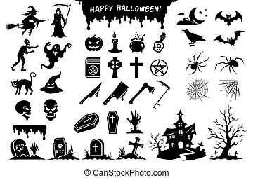 Black silhouettes of monsters, creatures and elements for Halloween