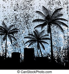 Black silhouettes of palm trees and the city on a blue background.