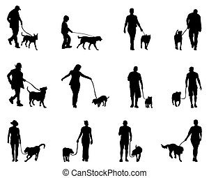 people and dogs - Black silhouettes of people and dogs,...