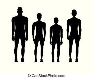 Black silhouettes of people in sportswear.