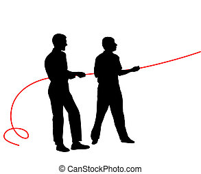 Black silhouettes of people pulling rope?. Vector illustration.