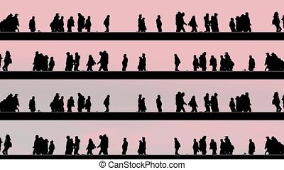 Black silhouettes of people walk and ride bikes along lines