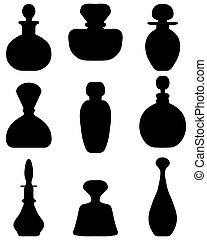 perfume bottles - Black silhouettes of perfume bottles, ...