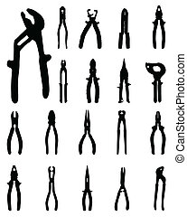 Black silhouettes of pliers, vector illustration
