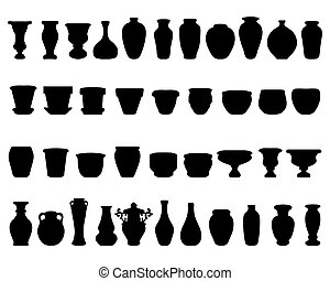 pottery  - Black silhouettes of pottery and vases, vector