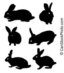 black silhouettes of rabbits
