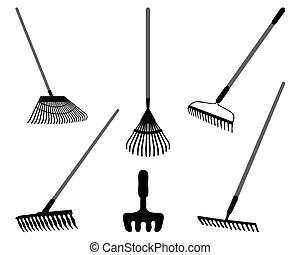 rake - Black silhouettes of rake on a white background,...