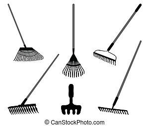 rake - Black silhouettes of rake on a white background, ...