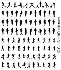 running  - Black silhouettes of running