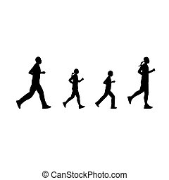 Black silhouettes of running people
