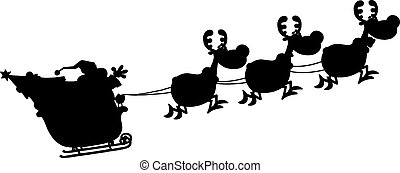 Black Silhouettes Of Santa Claus In Flight With His Reindeer...