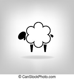 black silhouettes of sheep on a wh