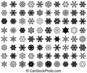 Black silhouettes of snowflakes