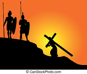 black silhouettes of soldiers carrying the cross and on an orange background