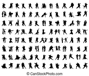 players - Black silhouettes of tango players, vector