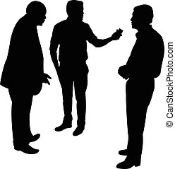 black silhouettes of three men standing and talking to each...