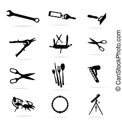 black silhouettes of tools symbols set