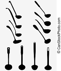 Black silhouettes of various ladle, vector