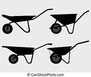 wheelbarrow - Black silhouettes of various wheelbarrow,...